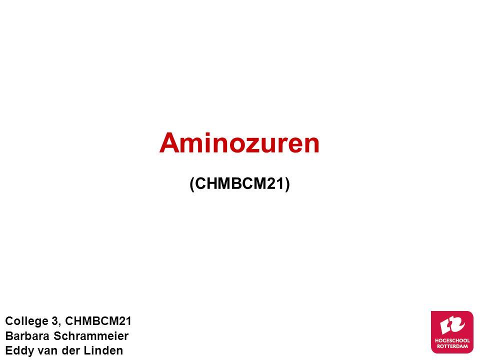 Aminozuren (CHMBCM21) College 3, CHMBCM21 Barbara Schrammeier Eddy van der Linden