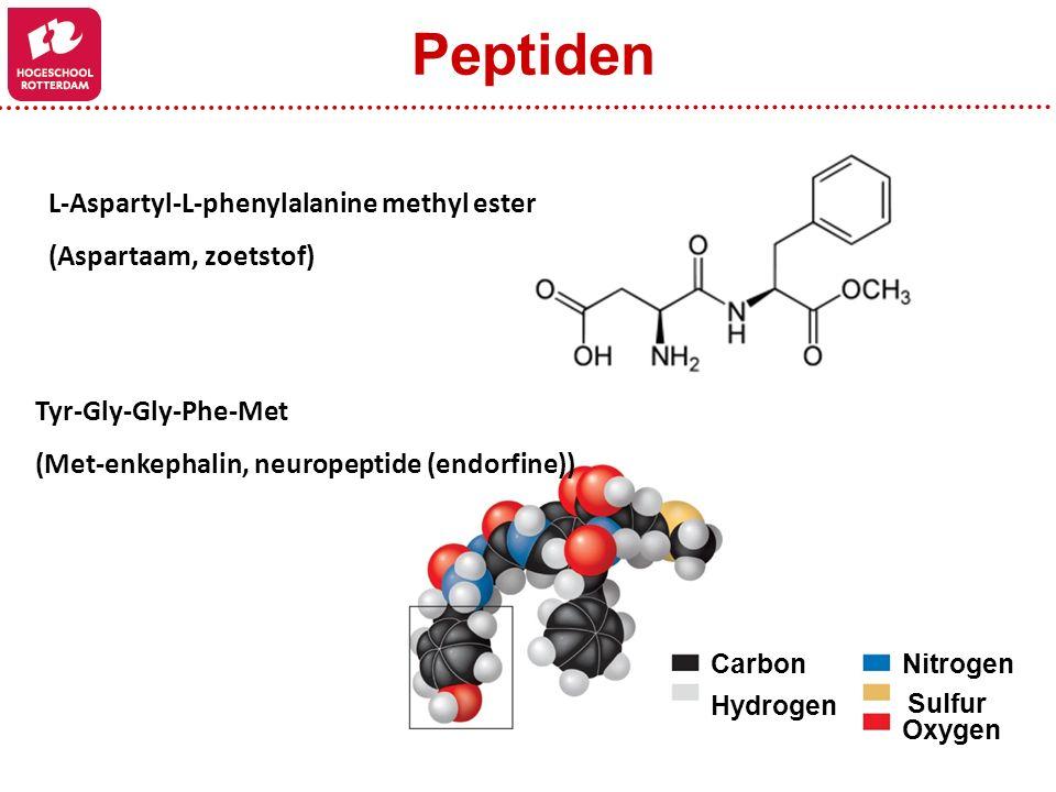 L-Aspartyl-L-phenylalanine methyl ester (Aspartaam, zoetstof) Carbon Hydrogen Nitrogen Sulfur Oxygen Tyr-Gly-Gly-Phe-Met (Met-enkephalin, neuropeptide