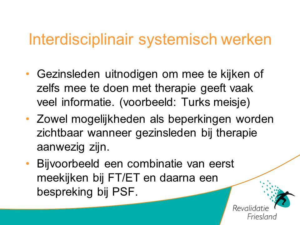 Interdisciplinair systemisch werken Gezinsleden uitnodigen om mee te kijken of zelfs mee te doen met therapie geeft vaak veel informatie. (voorbeeld: