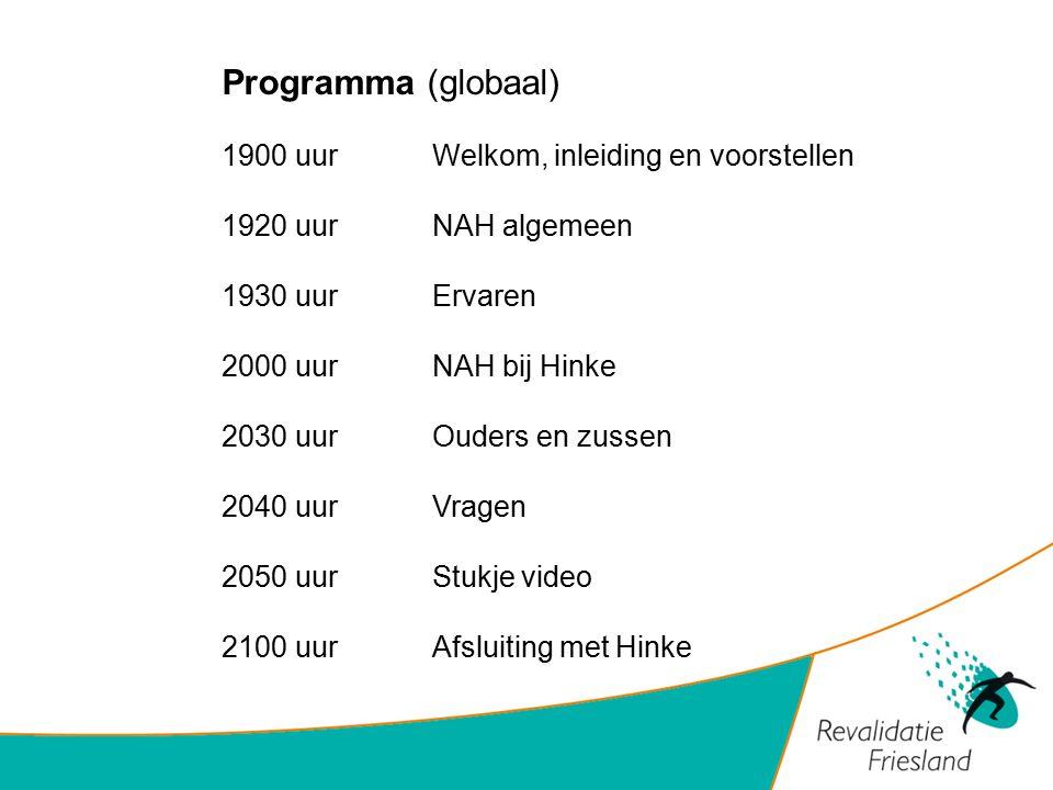 Programma (globaal) 1900 uur Welkom, inleiding en voorstellen 1920 uurNAH algemeen 1930 uurErvaren 2000 uurNAH bij Hinke 2030 uurOuders en zussen 2040