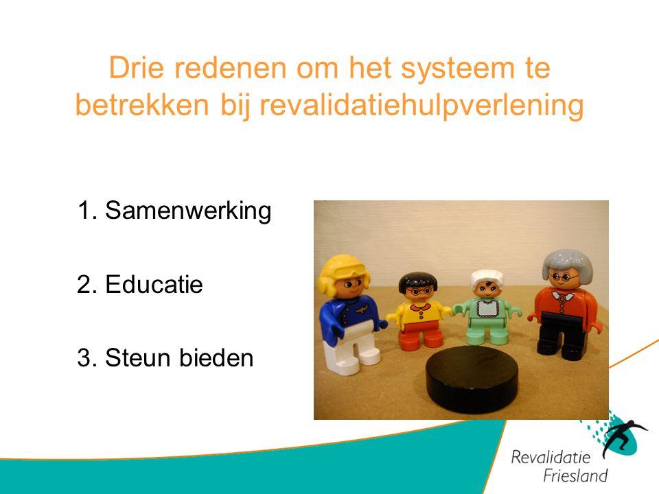 Drie redenen om het systeem te betrekken bij revalidatiehulpverlening 1. Samenwerking 2. Educatie 3. Steun bieden