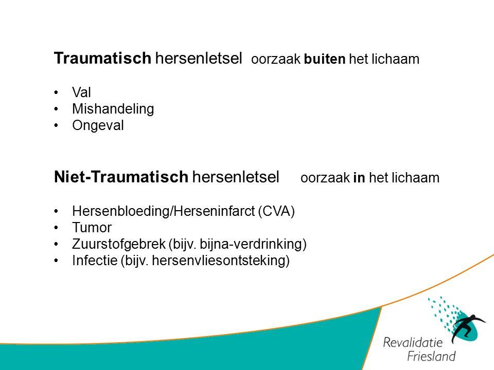 Traumatisch hersenletsel oorzaak buiten het lichaam Val Mishandeling Ongeval Niet-Traumatisch hersenletsel oorzaak in het lichaam Hersenbloeding/Herse