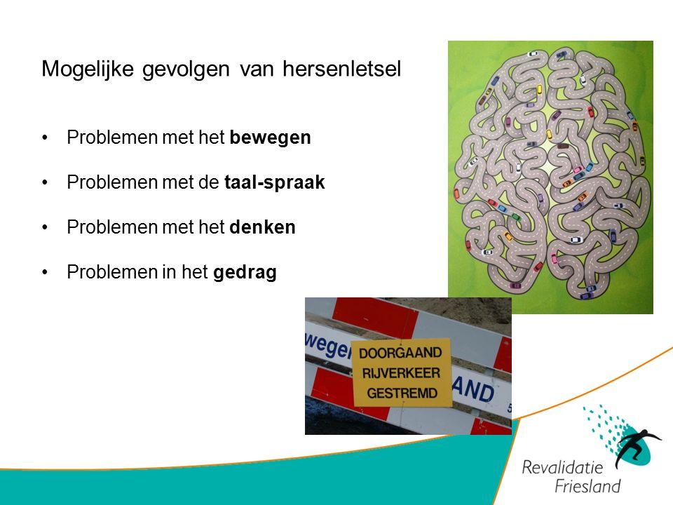 Mogelijke gevolgen van hersenletsel Problemen met het bewegen Problemen met de taal-spraak Problemen met het denken Problemen in het gedrag