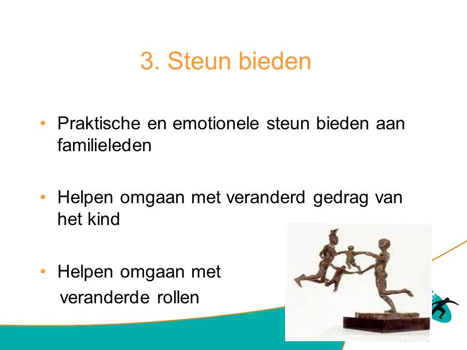 3. Steun bieden Praktische en emotionele steun bieden aan familieleden Helpen omgaan met veranderd gedrag van het kind Helpen omgaan met veranderde ro