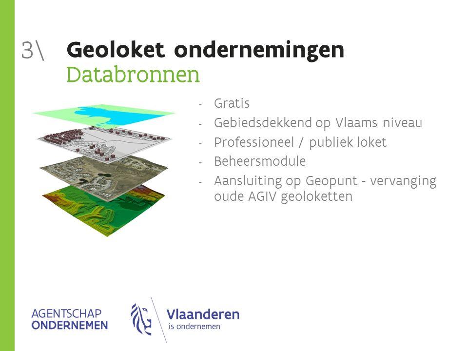 Geoloket ondernemingen Databronnen  Gratis  Gebiedsdekkend op Vlaams niveau  Professioneel / publiek loket  Beheersmodule  Aansluiting op Geopunt