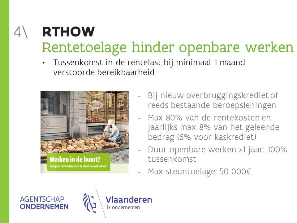 RTHOW Rentetoelage hinder openbare werken Tussenkomst in de rentelast bij minimaal 1 maand verstoorde bereikbaarheid  Bij nieuw overbruggingskrediet