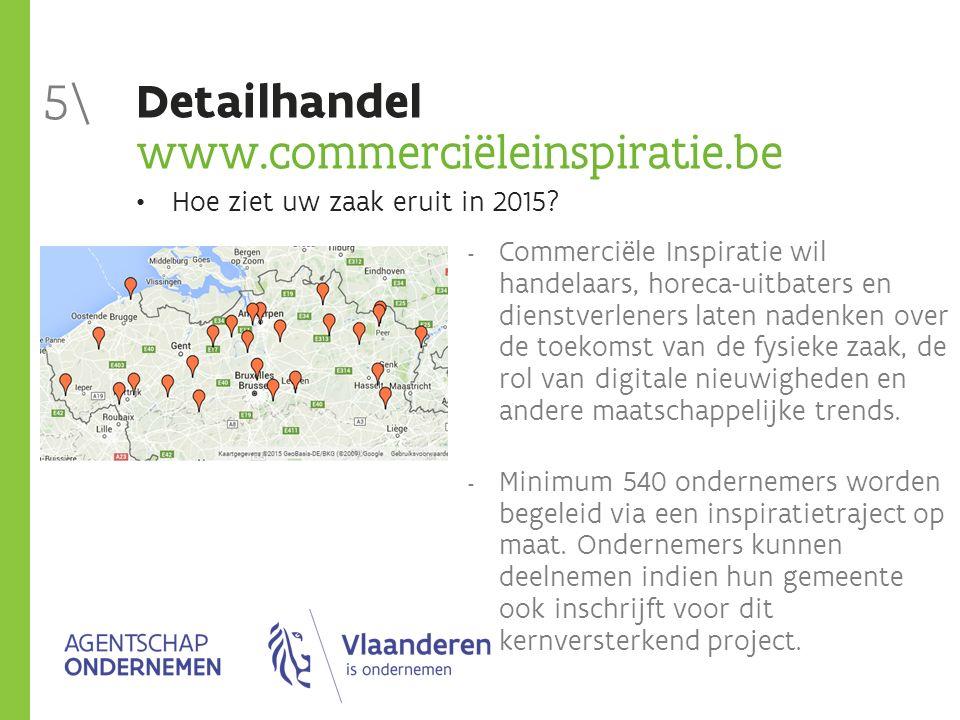 Detailhandel www.commerciëleinspiratie.be 5\  Commerciële Inspiratie wil handelaars, horeca-uitbaters en dienstverleners laten nadenken over de toekomst van de fysieke zaak, de rol van digitale nieuwigheden en andere maatschappelijke trends.