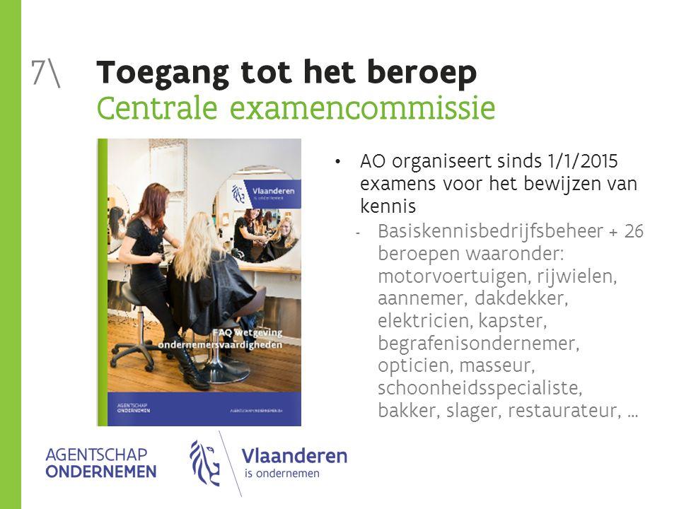 Toegang tot het beroep Centrale examencommissie AO organiseert sinds 1/1/2015 examens voor het bewijzen van kennis  Basiskennisbedrijfsbeheer + 26 be