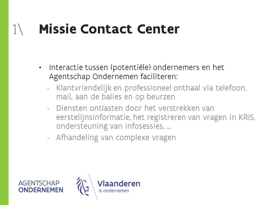 Missie Contact Center Interactie tussen (potentiële) ondernemers en het Agentschap Ondernemen faciliteren:  Klantvriendelijk en professioneel onthaal
