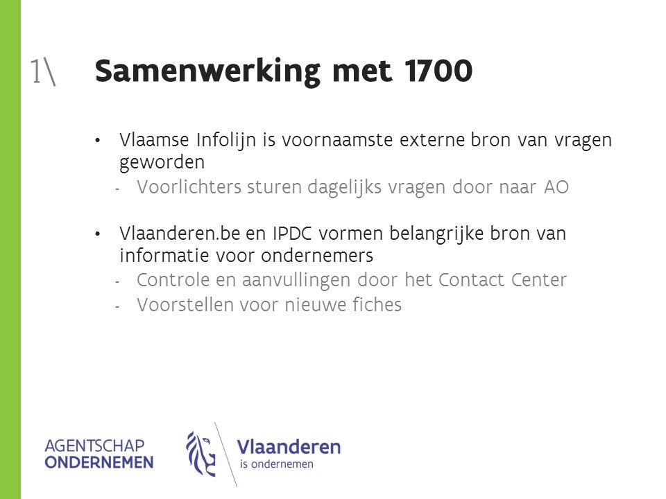 Samenwerking met 1700 Vlaamse Infolijn is voornaamste externe bron van vragen geworden  Voorlichters sturen dagelijks vragen door naar AO Vlaanderen.