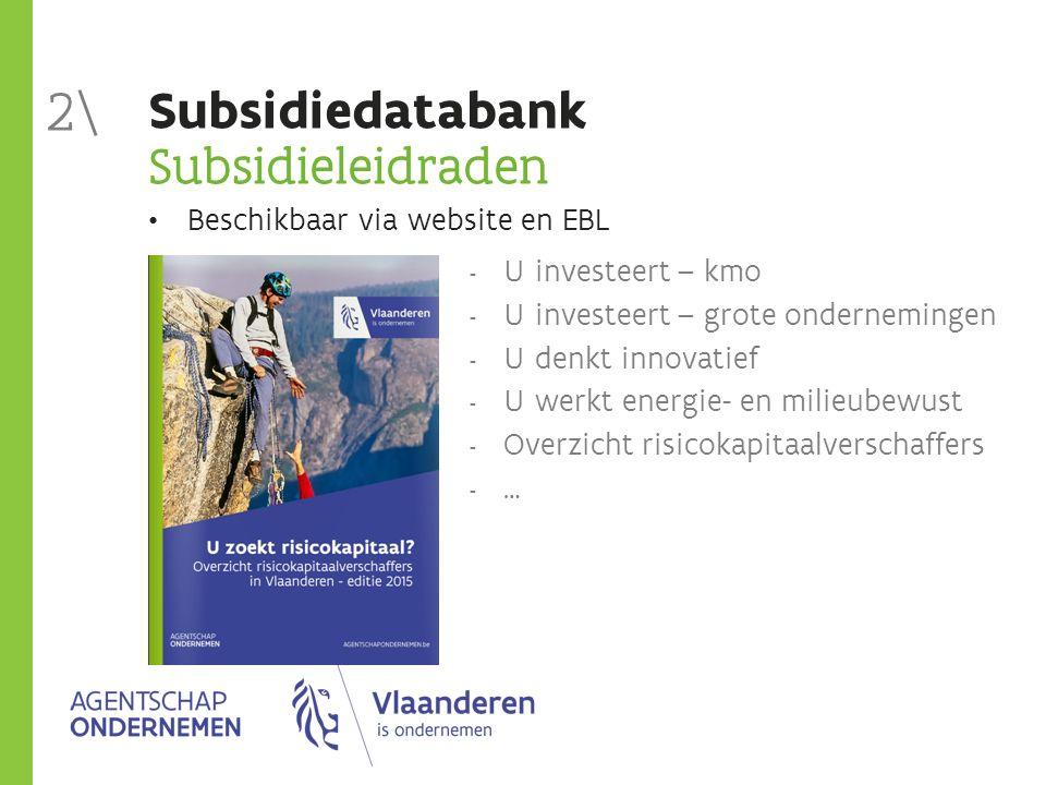 Subsidiedatabank Subsidieleidraden Beschikbaar via website en EBL  U investeert – kmo  U investeert – grote ondernemingen  U denkt innovatief  U w