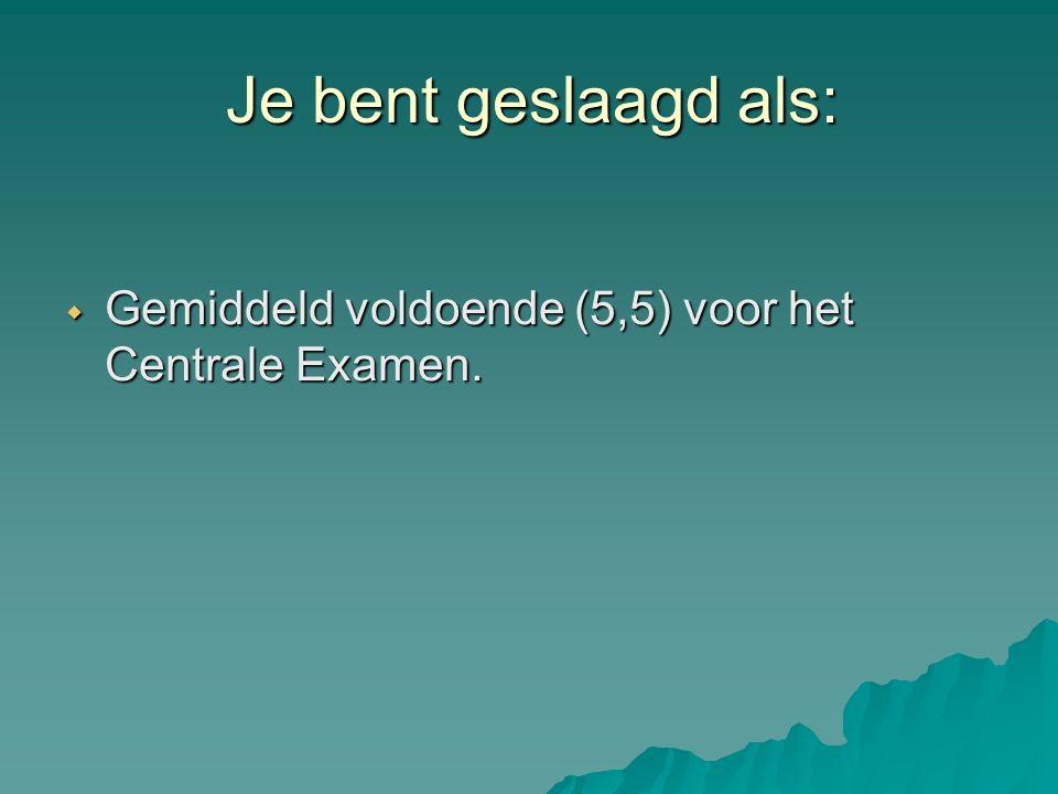 Je bent geslaagd als:  Gemiddeld voldoende (5,5) voor het Centrale Examen.