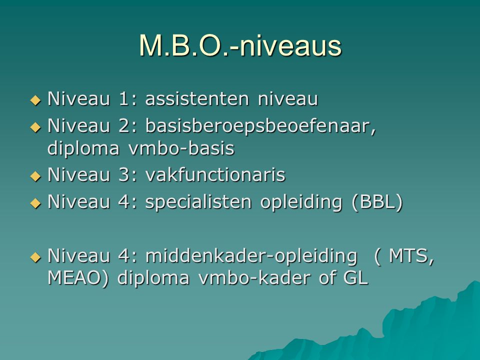 M.B.O.-niveaus  Niveau 1: assistenten niveau  Niveau 2: basisberoepsbeoefenaar, diploma vmbo-basis  Niveau 3: vakfunctionaris  Niveau 4: specialisten opleiding (BBL)  Niveau 4: middenkader-opleiding ( MTS, MEAO) diploma vmbo-kader of GL