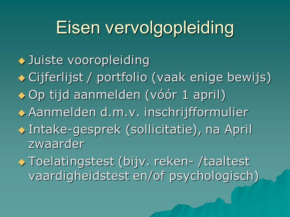 Eisen vervolgopleiding  Juiste vooropleiding  Cijferlijst / portfolio (vaak enige bewijs)  Op tijd aanmelden (vóór 1 april)  Aanmelden d.m.v.