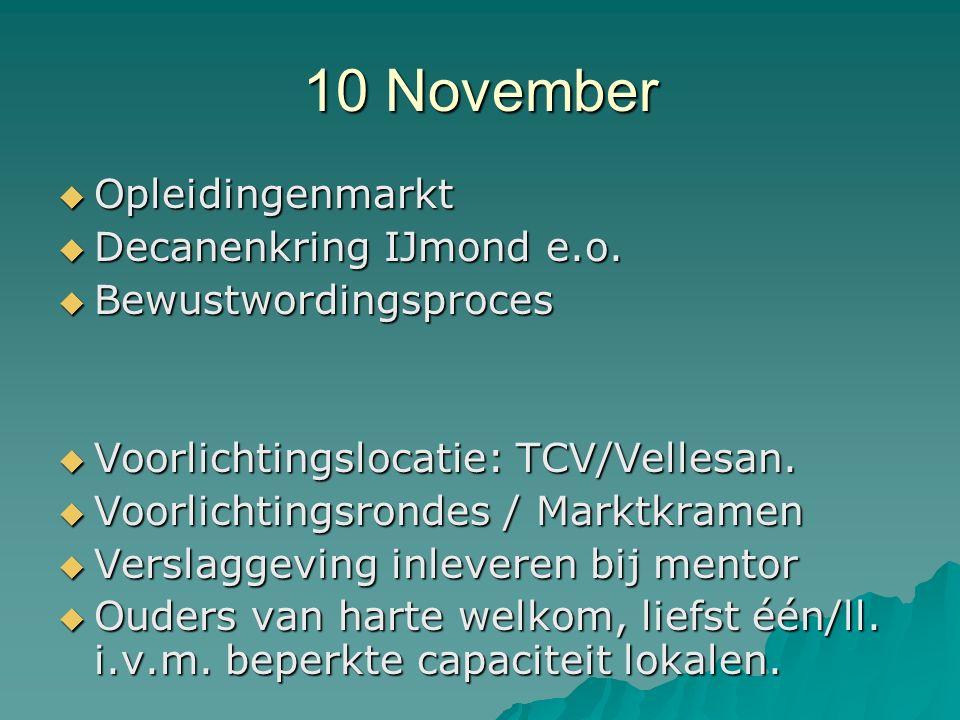 10 November  Opleidingenmarkt  Decanenkring IJmond e.o.  Bewustwordingsproces  Voorlichtingslocatie: TCV/Vellesan.  Voorlichtingsrondes / Marktkr