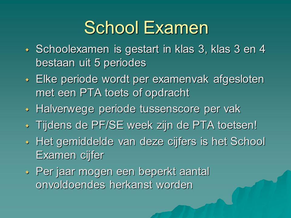 School Examen  Schoolexamen is gestart in klas 3, klas 3 en 4 bestaan uit 5 periodes  Elke periode wordt per examenvak afgesloten met een PTA toets of opdracht  Halverwege periode tussenscore per vak  Tijdens de PF/SE week zijn de PTA toetsen.