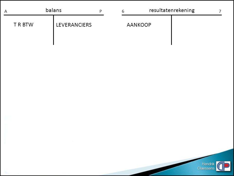 balansresultatenrekening AP67 LEVERANCIERS T R BTW AANKOOP