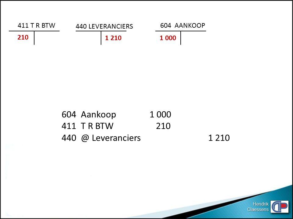 604 Aankoop1 000 411 T R BTW 210 440 @ Leveranciers1 210 411 T R BTW 210 440 LEVERANCIERS 1 210 604 AANKOOP 1 000