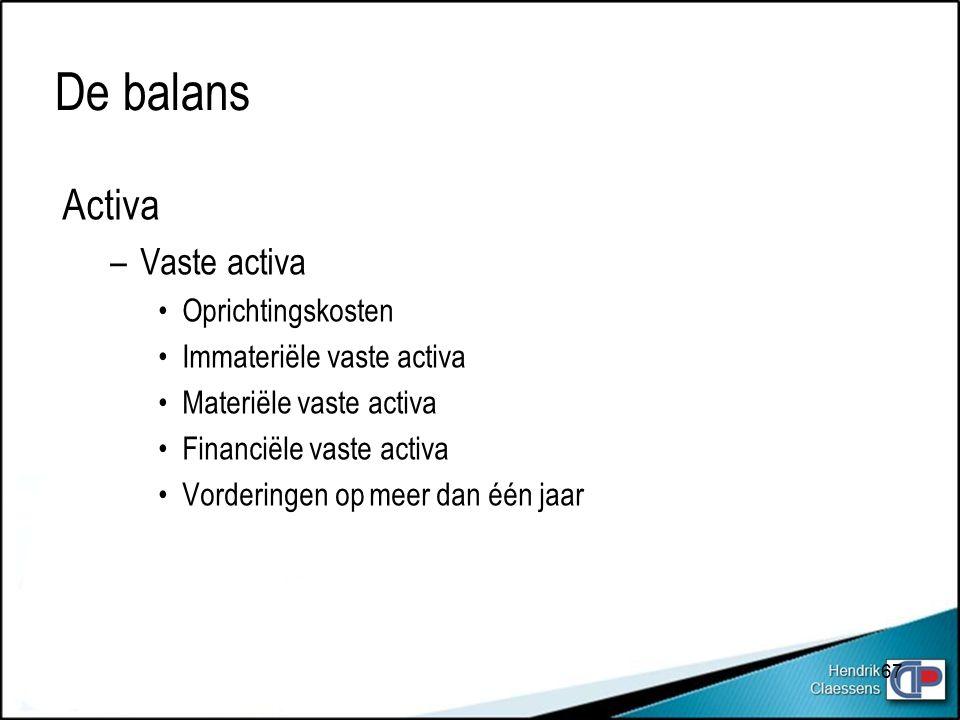 De balans Activa –Vaste activa Oprichtingskosten Immateriële vaste activa Materiële vaste activa Financiële vaste activa Vorderingen op meer dan één jaar 67