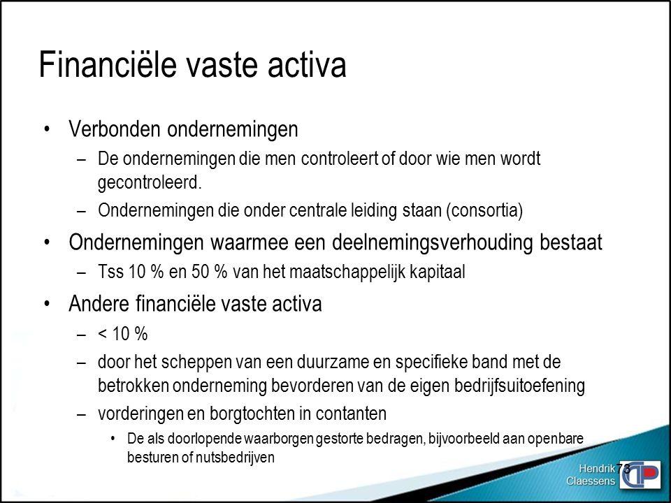 Financiële vaste activa Verbonden ondernemingen –De ondernemingen die men controleert of door wie men wordt gecontroleerd.