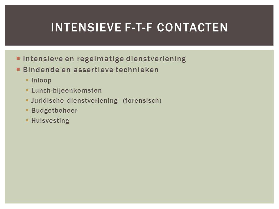 INTENSIEVE F-T-F CONTACTEN  Intensieve en regelmatige dienstverlening  Bindende en assertieve technieken  Inloop  Lunch-bijeenkomsten  Juridische dienstverlening (forensisch)  Budgetbeheer  Huisvesting