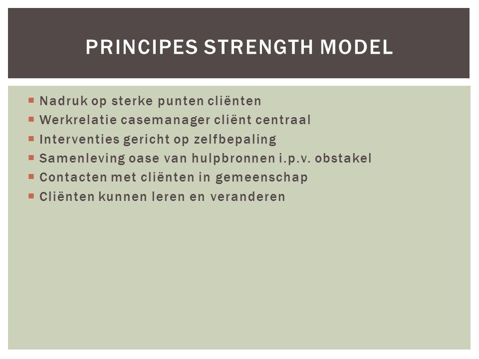 PRINCIPES STRENGTH MODEL  Nadruk op sterke punten cliënten  Werkrelatie casemanager cliënt centraal  Interventies gericht op zelfbepaling  Samenleving oase van hulpbronnen i.p.v.
