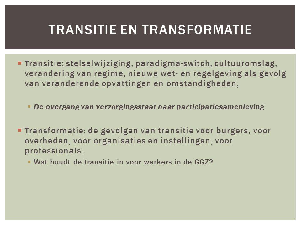  Transitie: stelselwijziging, paradigma-switch, cultuuromslag, verandering van regime, nieuwe wet- en regelgeving als gevolg van veranderende opvattingen en omstandigheden;  De overgang van verzorgingsstaat naar participatiesamenleving  Transformatie: de gevolgen van transitie voor burgers, voor overheden, voor organisaties en instellingen, voor professionals.