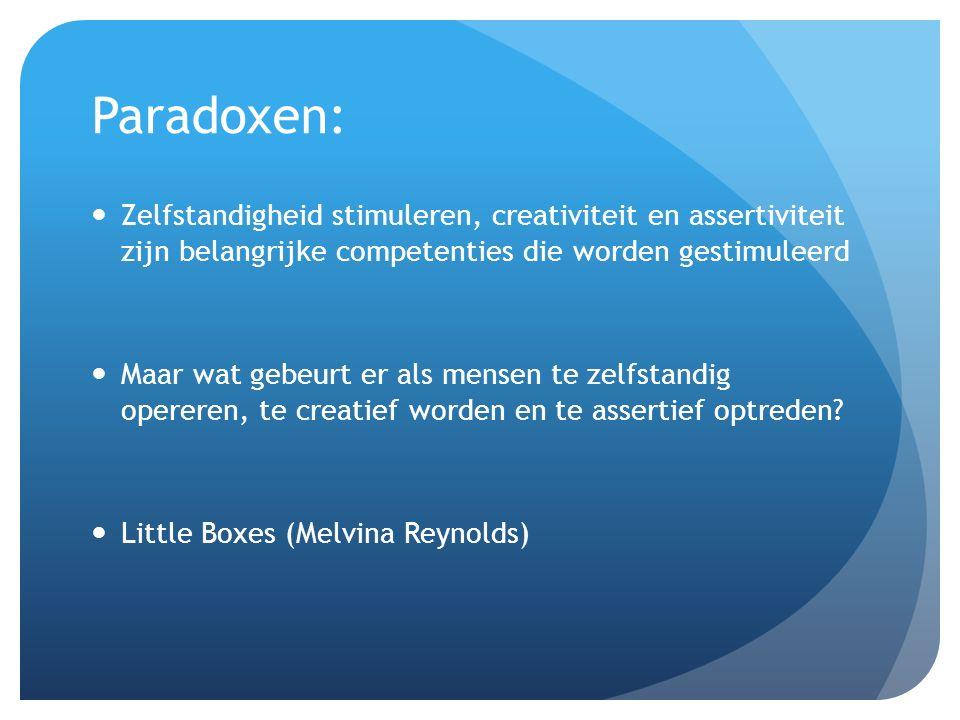 Paradoxen: Zelfstandigheid stimuleren, creativiteit en assertiviteit zijn belangrijke competenties die worden gestimuleerd Maar wat gebeurt er als mensen te zelfstandig opereren, te creatief worden en te assertief optreden.
