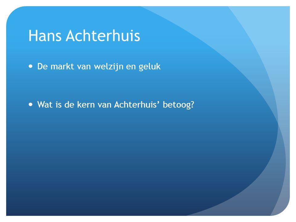 Hans Achterhuis De markt van welzijn en geluk Wat is de kern van Achterhuis' betoog