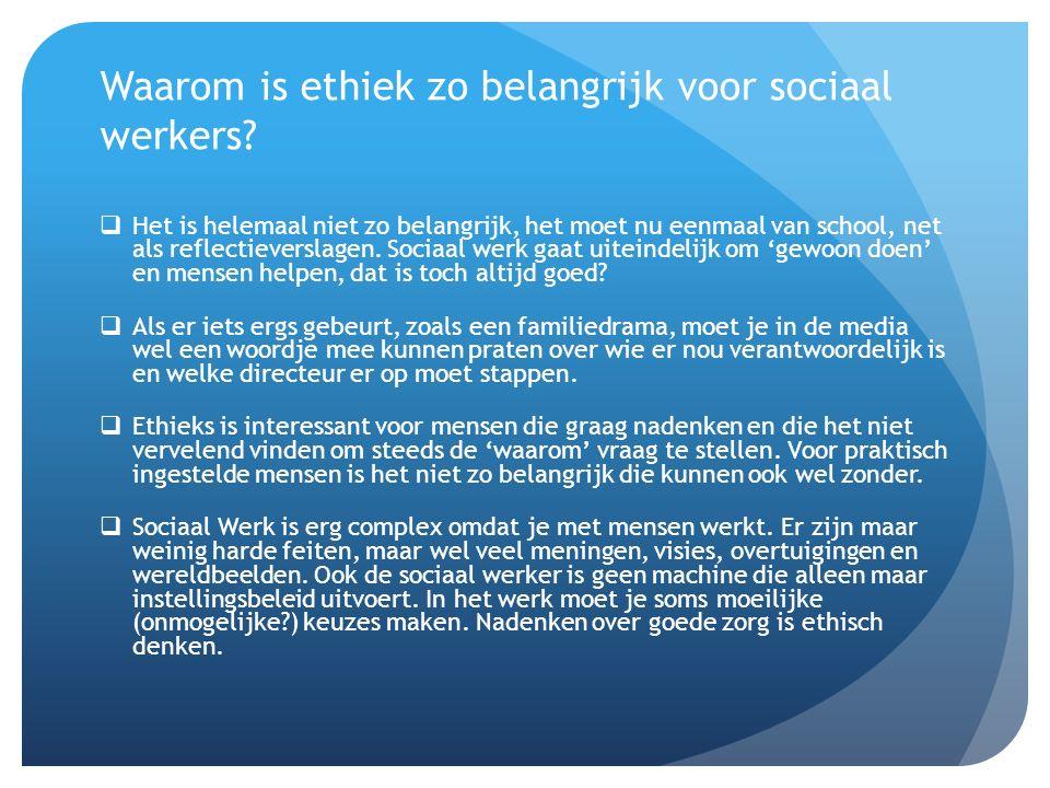Waarom is ethiek zo belangrijk voor sociaal werkers.