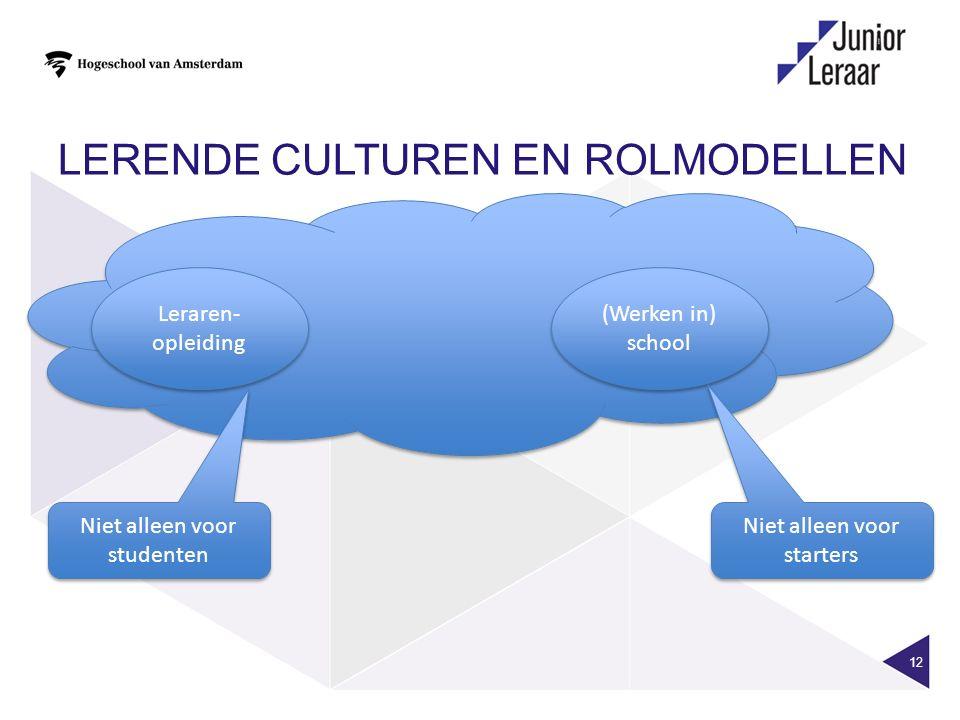 LERENDE CULTUREN EN ROLMODELLEN 12 Leraren- opleiding (Werken in) school Niet alleen voor starters Niet alleen voor studenten