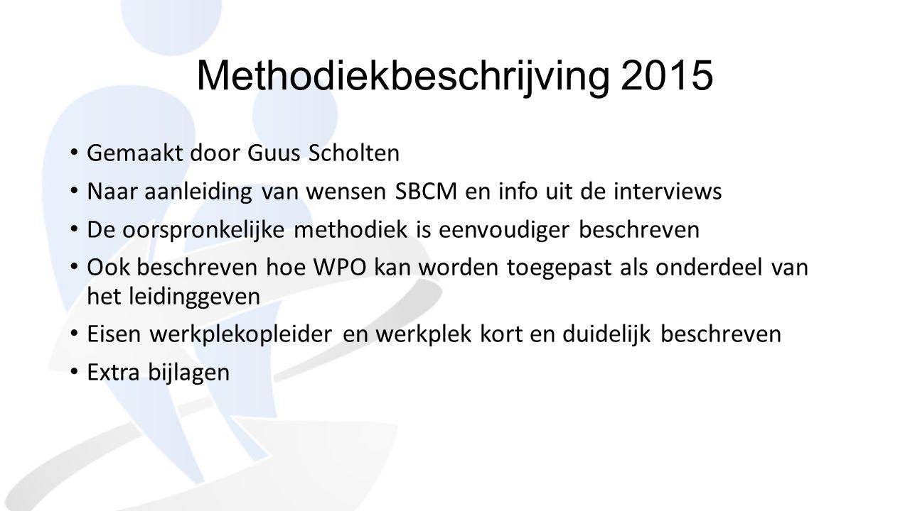 Methodiekbeschrijving 2015 Gemaakt door Guus Scholten Naar aanleiding van wensen SBCM en info uit de interviews De oorspronkelijke methodiek is eenvou