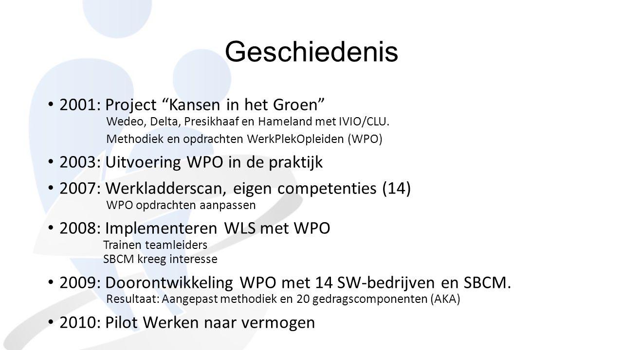 """Geschiedenis 2001: Project """"Kansen in het Groen"""" Wedeo, Delta, Presikhaaf en Hameland met IVIO/CLU. Methodiek en opdrachten WerkPlekOpleiden (WPO) 200"""