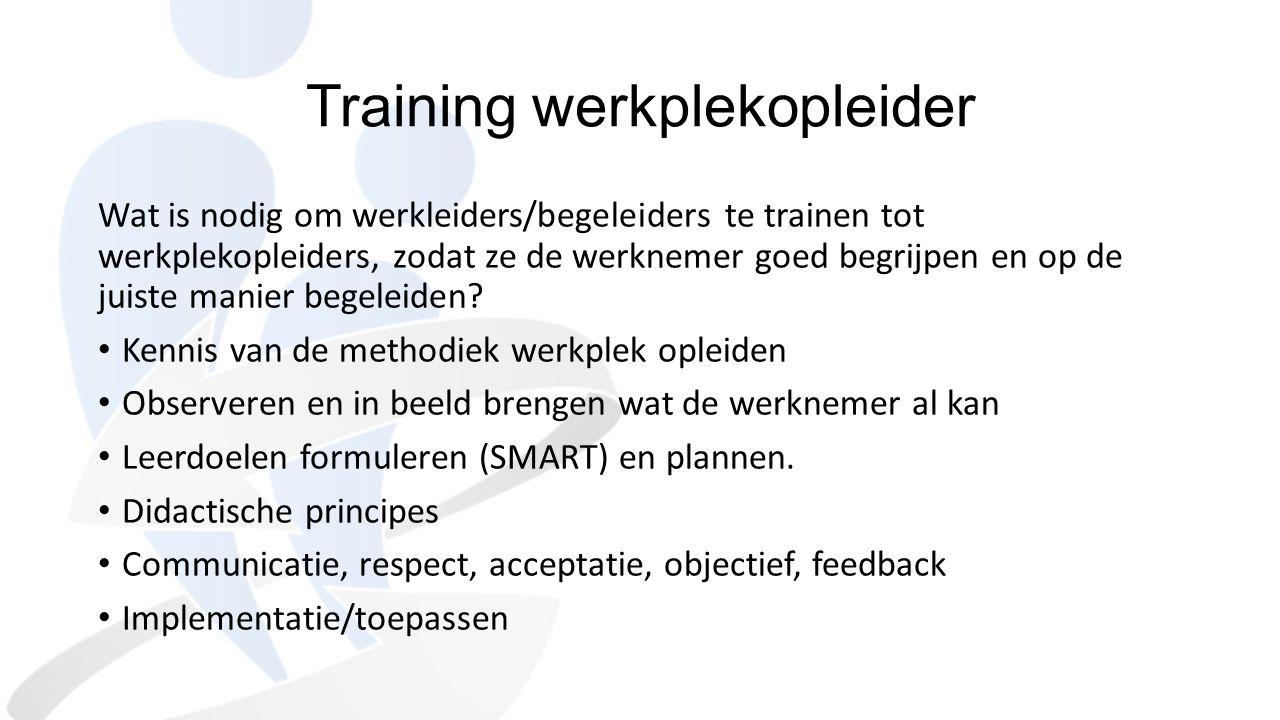 Training werkplekopleider Wat is nodig om werkleiders/begeleiders te trainen tot werkplekopleiders, zodat ze de werknemer goed begrijpen en op de juis