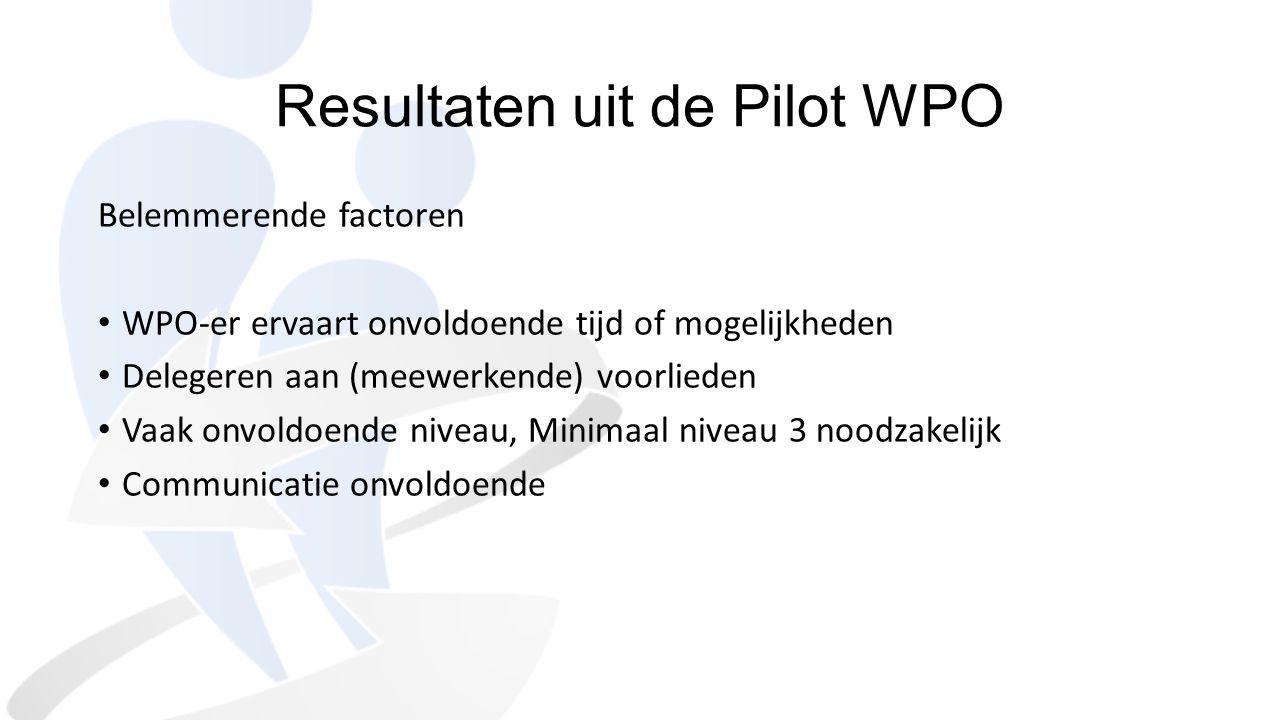 Resultaten uit de Pilot WPO Belemmerende factoren WPO-er ervaart onvoldoende tijd of mogelijkheden Delegeren aan (meewerkende) voorlieden Vaak onvoldo