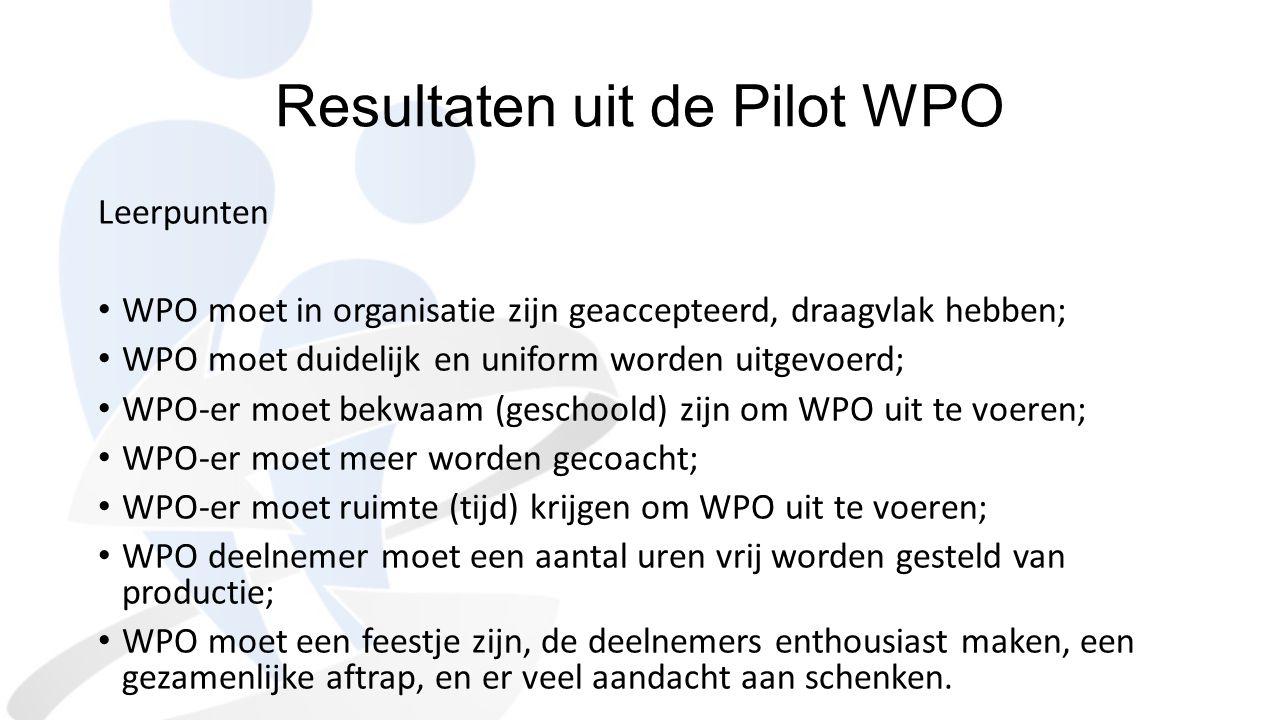 Resultaten uit de Pilot WPO Leerpunten WPO moet in organisatie zijn geaccepteerd, draagvlak hebben; WPO moet duidelijk en uniform worden uitgevoerd; W
