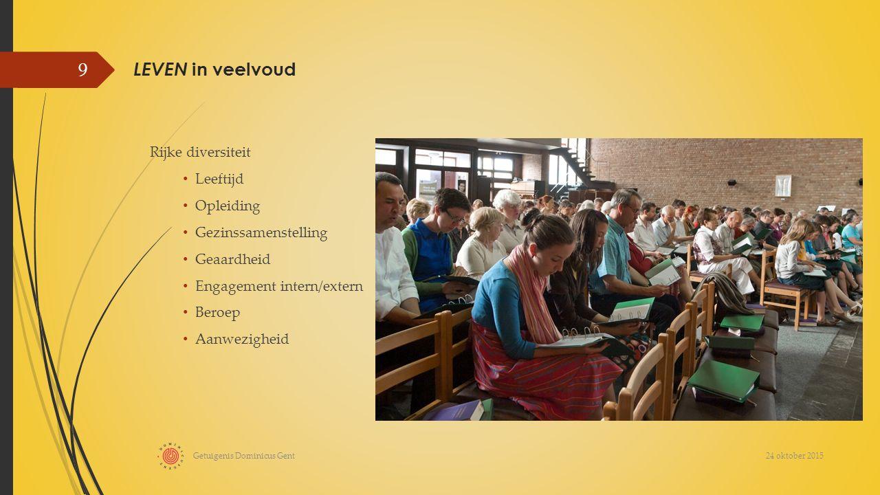 LEVEN in veelvoud Rijke diversiteit Leeftijd Opleiding Gezinssamenstelling Geaardheid Engagement intern/extern Beroep Aanwezigheid 24 oktober 2015 Getuigenis Dominicus Gent 9