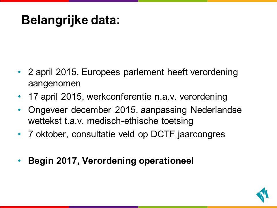 Belangrijke data: 2 april 2015, Europees parlement heeft verordening aangenomen 17 april 2015, werkconferentie n.a.v.