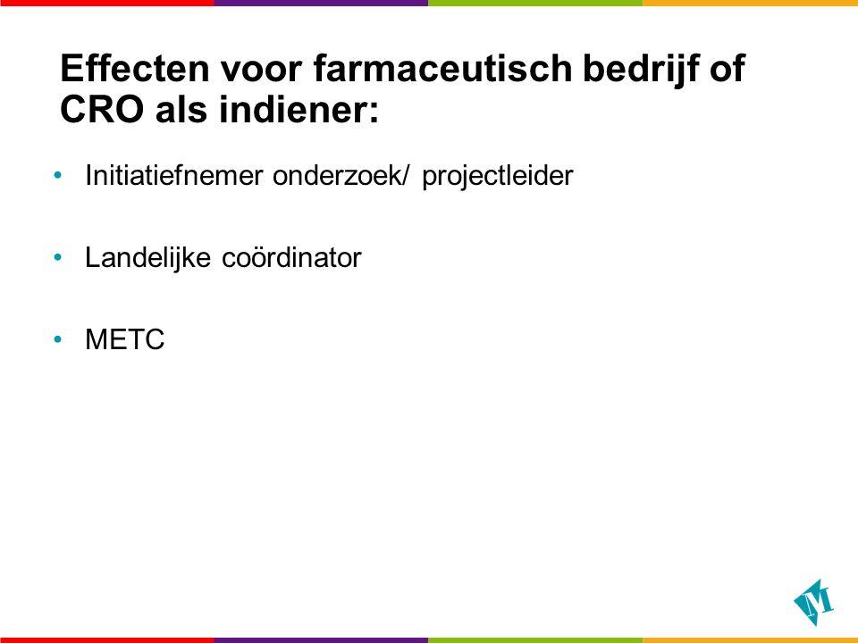 Effecten voor farmaceutisch bedrijf of CRO als indiener: Initiatiefnemer onderzoek/ projectleider Landelijke coördinator METC