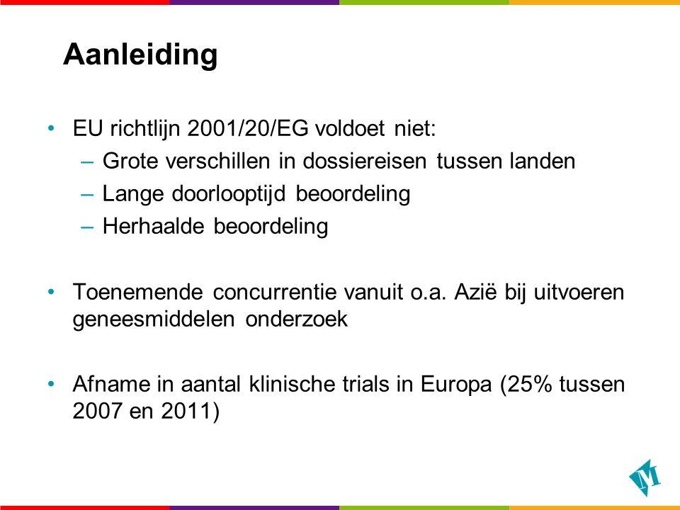 EU Verordening Klinisch Geneesmiddelenonderzoek Doel: –De regels vereenvoudigen.