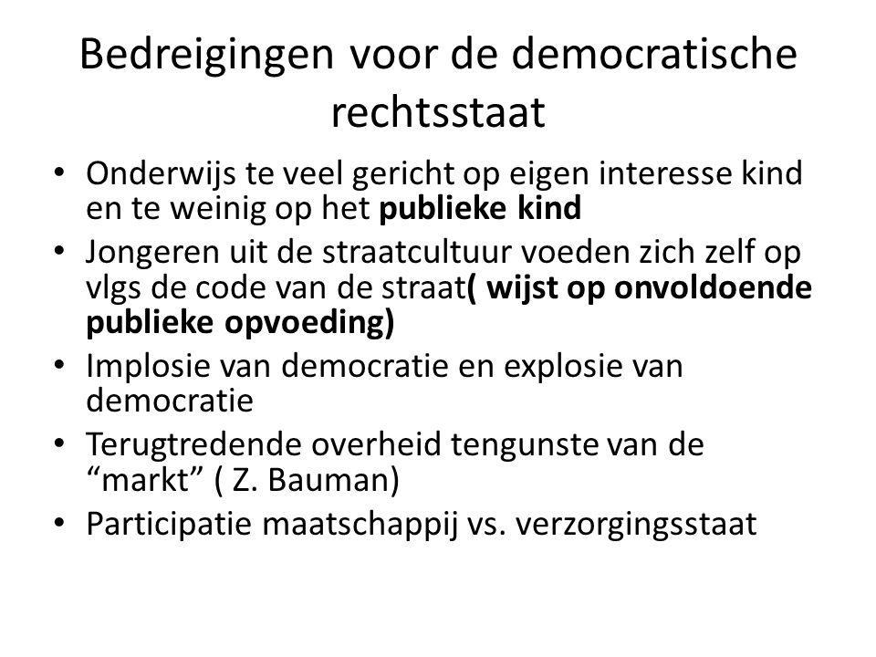 Bedreigingen voor de democratische rechtsstaat Onderwijs te veel gericht op eigen interesse kind en te weinig op het publieke kind Jongeren uit de str