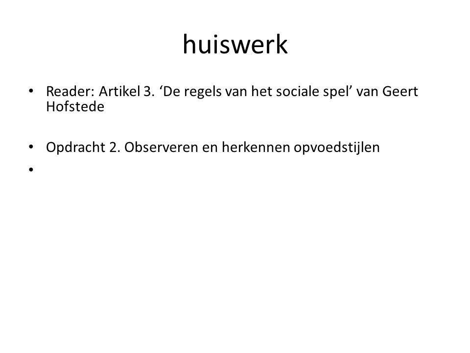 huiswerk Reader: Artikel 3. 'De regels van het sociale spel' van Geert Hofstede Opdracht 2. Observeren en herkennen opvoedstijlen