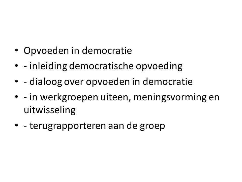 Opvoeden in democratie - inleiding democratische opvoeding - dialoog over opvoeden in democratie - in werkgroepen uiteen, meningsvorming en uitwisseli