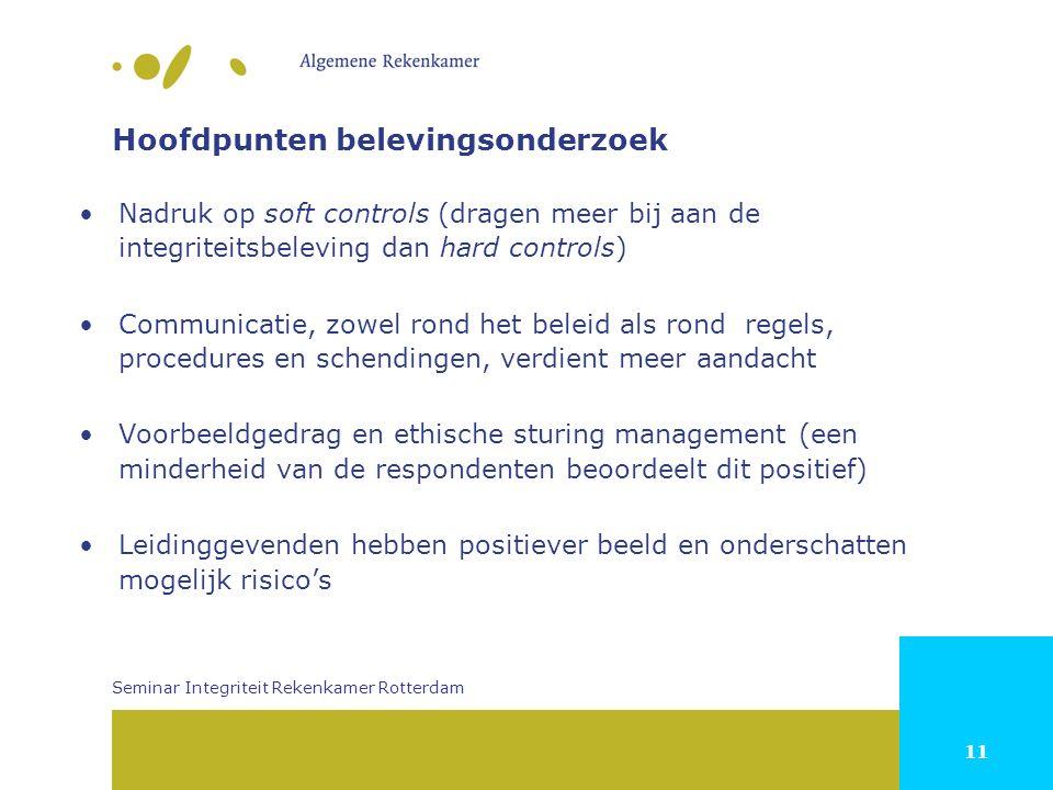 11 Hoofdpunten belevingsonderzoek Nadruk op soft controls (dragen meer bij aan de integriteitsbeleving dan hard controls) Communicatie, zowel rond het beleid als rond regels, procedures en schendingen, verdient meer aandacht Voorbeeldgedrag en ethische sturing management (een minderheid van de respondenten beoordeelt dit positief) Leidinggevenden hebben positiever beeld en onderschatten mogelijk risico's Seminar Integriteit Rekenkamer Rotterdam