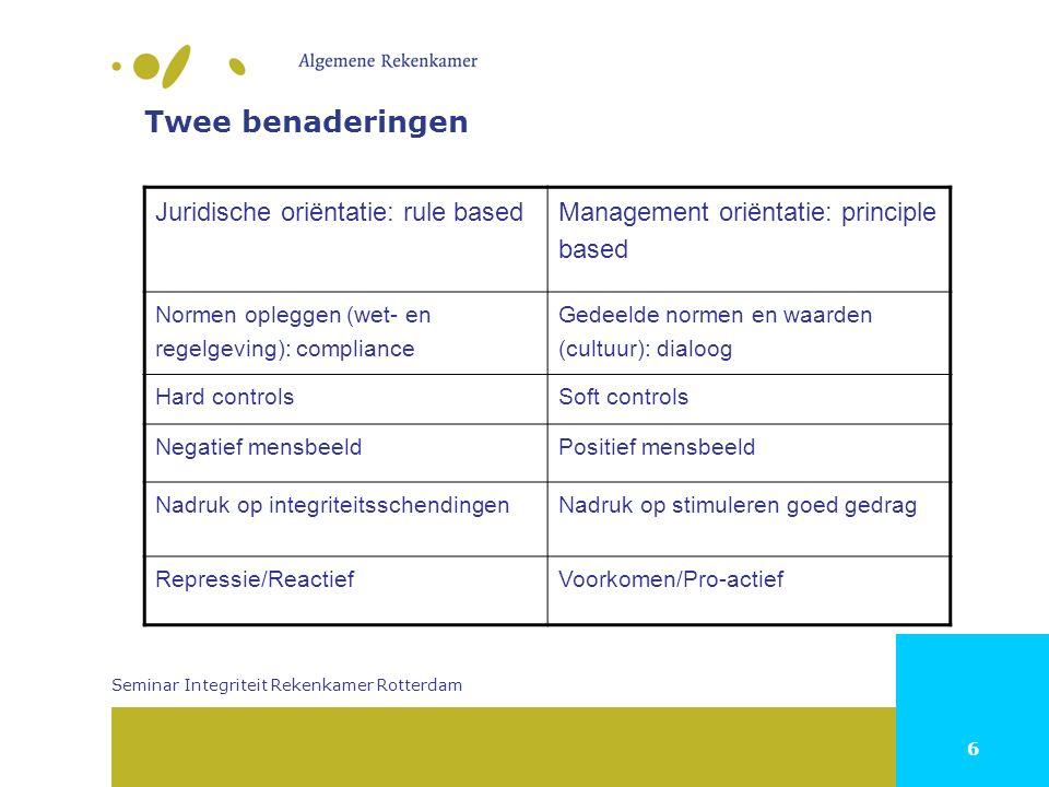 6 Twee benaderingen Juridische oriëntatie: rule basedManagement oriëntatie: principle based Normen opleggen (wet- en regelgeving): compliance Gedeelde
