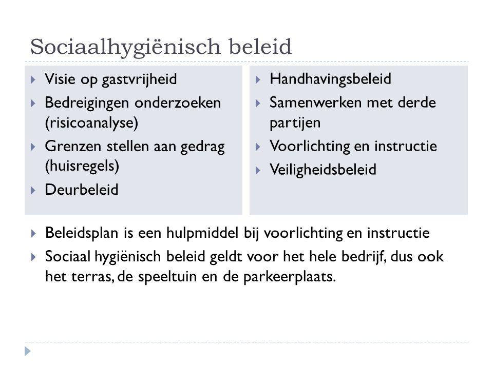 Sociaalhygiënisch beleid  Visie op gastvrijheid  Bedreigingen onderzoeken (risicoanalyse)  Grenzen stellen aan gedrag (huisregels)  Deurbeleid  H