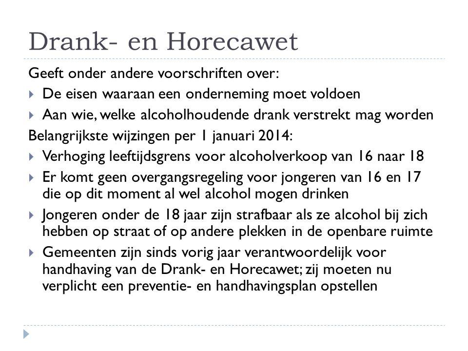 Drank- en Horecawet Geeft onder andere voorschriften over:  De eisen waaraan een onderneming moet voldoen  Aan wie, welke alcoholhoudende drank vers