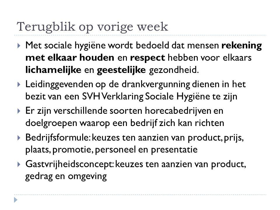 Terugblik op vorige week  Met sociale hygiëne wordt bedoeld dat mensen rekening met elkaar houden en respect hebben voor elkaars lichamelijke en gees