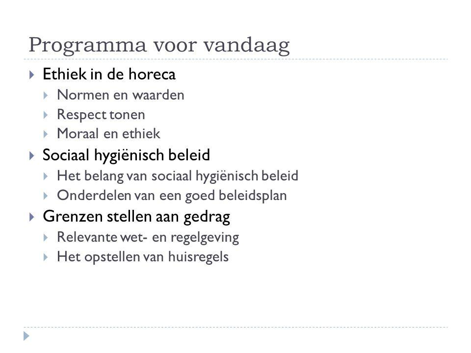 Programma voor vandaag  Ethiek in de horeca  Normen en waarden  Respect tonen  Moraal en ethiek  Sociaal hygiënisch beleid  Het belang van socia
