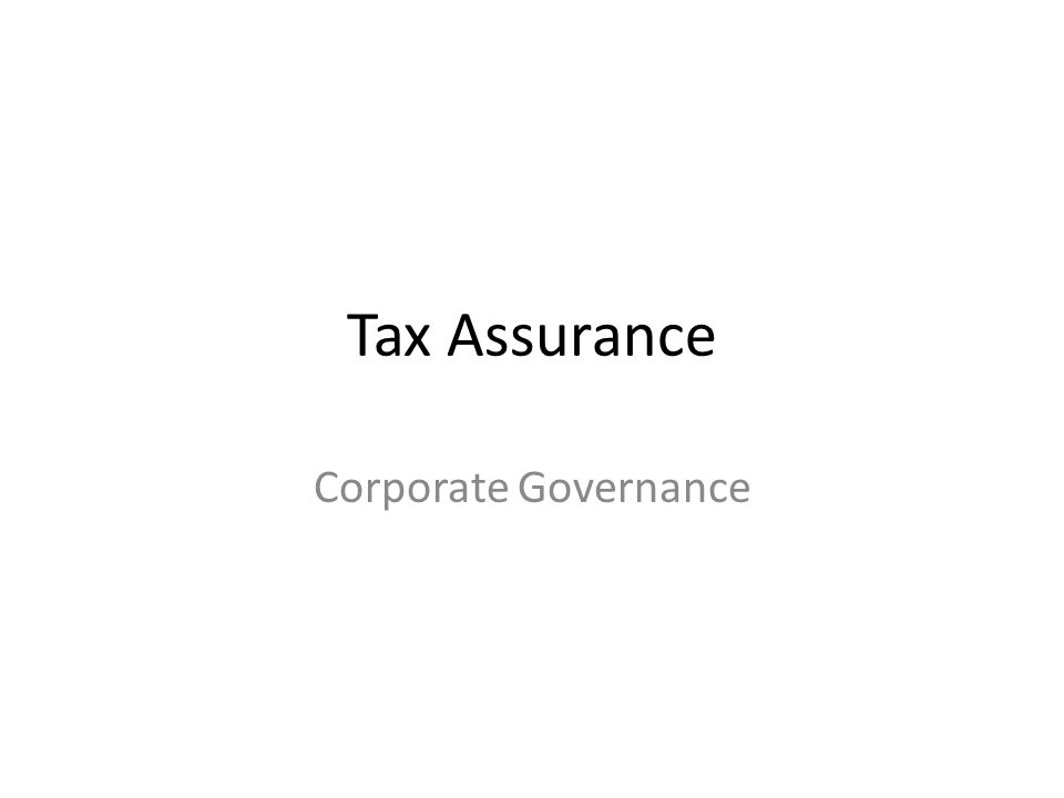 Tax Assurance Corporate Governance